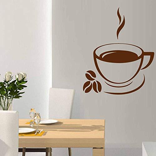ZJfong Coffee Shop Wandaufkleber Kaffeetasse Bohnen Art Decors Wandtattoos Haus Dekor Vinyl Aufkleber Küche Abnehmbare 57x46cm