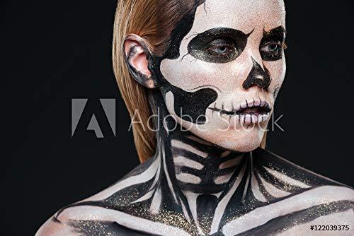 druck-shop24 Wunschmotiv: Closeup of Girl with Terrifying Halloween Makeup #122039375 - Bild hinter Acrylglas - 3:2-60 x 40 cm / 40 x 60 cm