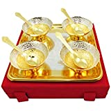 GoldGiftIdeas 3.5 Inch Four Gold-Silver Plated Patti Serving Bowl Set With Tray And Spoon, Brass Bowl Set For Gifting, Wedding Gift