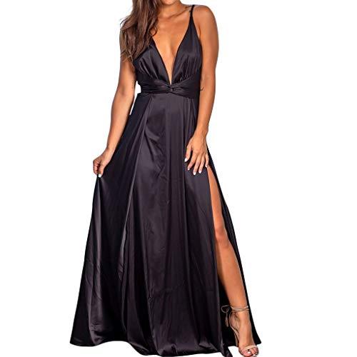 Fcostume Damen Strandkleid, Frauen Arbeiten reizvolles V Ansatz Normallack Riemenpunkte Gabel ärmelloses Sommer Kleid um