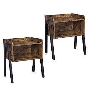 VASAGLE Nachtschrank 2er Set Vintage, Beistelltisch, Sofatisch mit 2 Ablagen, stabil, mit Metallgestell, einfach zu montieren, stapelbar, Used Look, Holzoptik LET188X