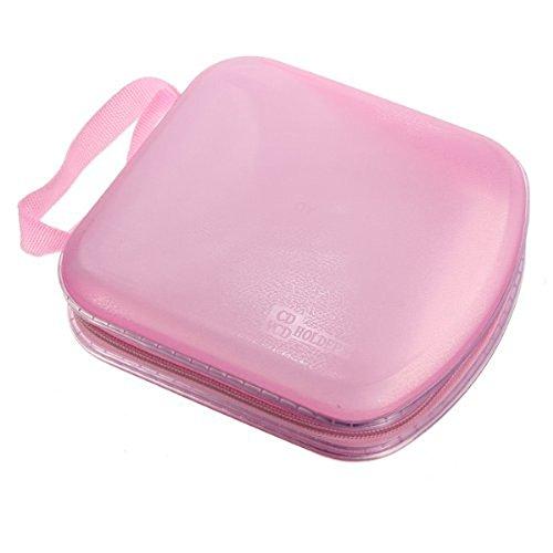 WINOMO Portable durchsichtigen Kunststoff 40 CD DVD VCD Disc Halter Storage Box Tasche Wallet Case Protector Organizer (Rosa)