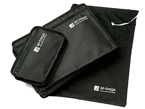 at-bags advanced travel bags Hemdentasche SET EXECUTIVE - schwarz, für den faltenfreien Transport von 3 Stück Hemden, inkl. Kulturbeutel & Wäschesack
