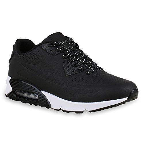Herren Sport Leder-Optik Sneakers Velours Glitzer Metallic Runners Freizeit Schnürer Schuhe 129473 Schwarz Weiss 41 | Flandell