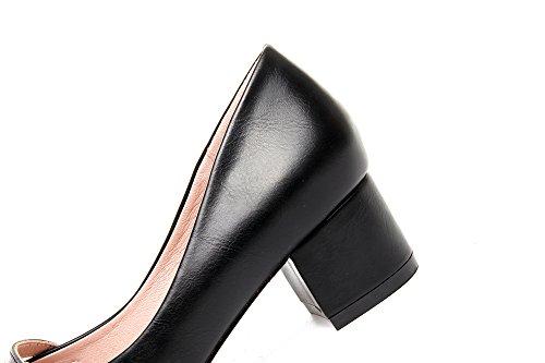 Damen Slipper Eckig Blockabsatz Flach Slip on Einfach Britisch Stil OL Büro Freizeit Elegant Modisch Schuhe Schwarz