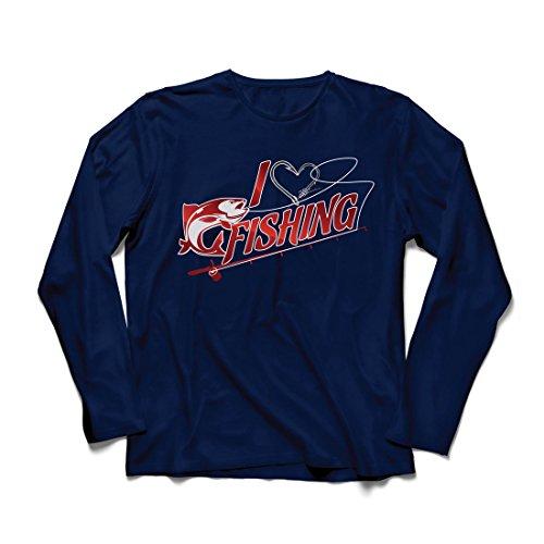 Langarm Herren t Shirts Ich Mag Fischen - Fischer Geschenk, für Fisch Liebhaber Zitate, Witz Hobbys Humor (Large Blau Mehrfarben) (Logo Langarm-jagd-t-shirt)