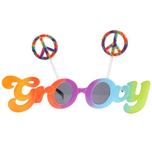 BESTOYARD Neuheit Groovy Sonnenbrille Peace Signs Lustige Gläser Kostüm mit grauen Linsen für Party Cosplay Dekoration (Kostüm Mit Gläsern)