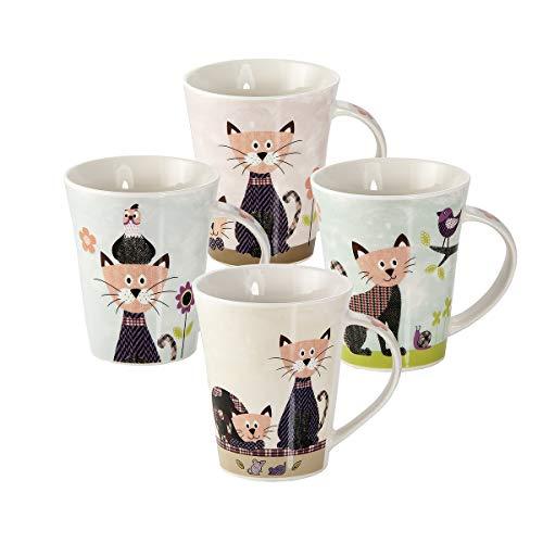 Juego de 4 Tazas Desayuno Originales de Porcelana Fina, Tazas de Café con Diseño de Gato, Regalos para Mujer y Amantes de los Animales