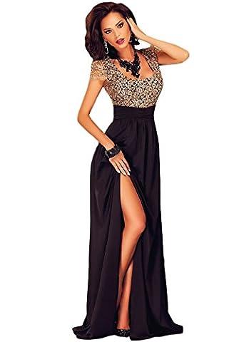 LETSDO Amazing Gold Lace Overlay Slit Maxi Evening Gown Dresses, Black, One Size (UK8-12)