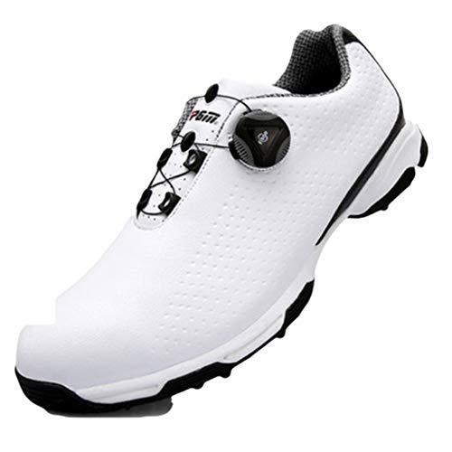 Frauen-golf-schuhe (PGM Golf Schuhe Männer 3d Druck Mikrofaser Leder Sportschuhe Wasserdichte Knöpfe Schnalle Atmungsaktive Anti-Rutsch-Herren Trainingsschuhe,White,44)
