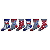 Sock Snob - 6 Pairs of Boys Baby Socks Multicoloured Bright Pack Giraffe and Tractor