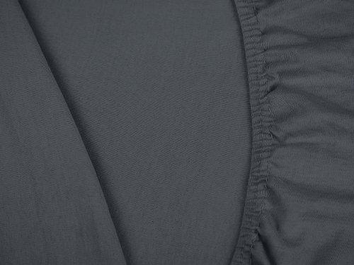 klassisches Jersey Spannbetttuch - erhältlich in 22 modernen Farben und 6 verschiedenen Größen - 100% Baumwolle, 70 x 140 cm, anthrazit - 5