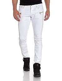 BLZ jeans - Jean slim blanc homme nervuré et zips fantaisie