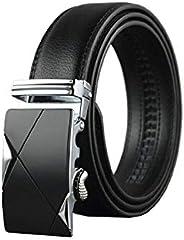 Mens belt Genuine Leather Fashion Belt Ratchet Dress Belt with Automatic Buckle Black