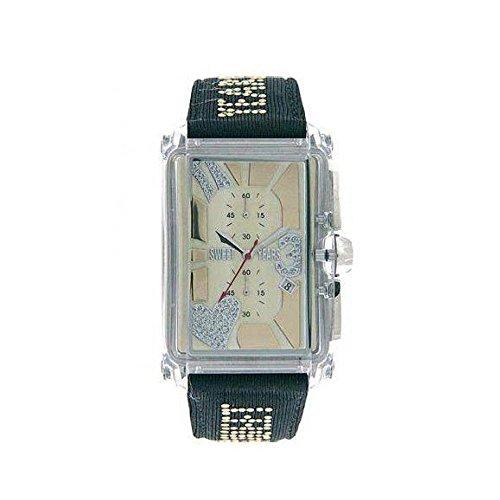 Sweet years/ sy6176m45 orologio solo tempo rettangolare nero e quadrante oro