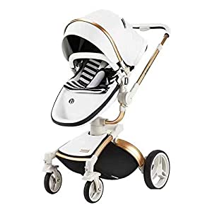 Baby Stroller, High Landscape for Sitting and Reclining Baby Doll Stroller, Shock Absorption and Light Baby Trend Jogging Stroller for Baby Infant Newborn Baby (Color : White)   8