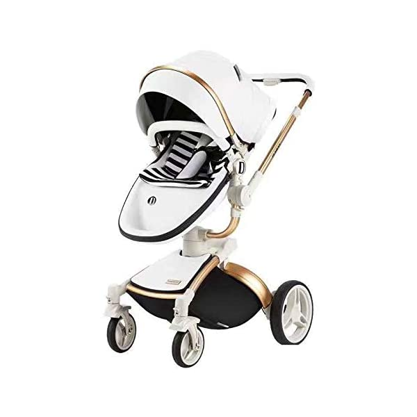 Baby Stroller, High Landscape for Sitting and Reclining Baby Doll Stroller, Shock Absorption and Light Baby Trend Jogging Stroller for Baby Infant Newborn Baby (Color : White) AEQ ●BABY ALIVE STROLLER TWO-WAY IMPLEMENTATION:enhance baby comfort baby stroller fan, check the baby at any time, family is more assured. ●EXQUISITE CRAFTSMANSHIP, STREAMLINED FRAME: for baby stroller adopts bionic principle, combined with physical triangle mechanics, support design, frame is stable and durable, easy to collect, smooth cart, tube width is over 5cm, less punching, baby pram stroller is more integrated Forming is stable. ●ENJOY THE SUN WITHOUT SUNBURN: Baby strollers are made of natural natural fabric and bottom PT film. They have excellent rebound and stretchability, and they can maintain a smooth and beautiful appearance after many times of folding. With authoritative certification, it can isolate more than 95% of ultraviolet rays, meet the travel needs of the baby in different time periods, and resist the sun glare. Baby stroller toy protects the baby's delicate skin. 1