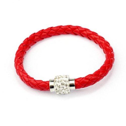 Armband Damen Armbänder DAY.LIN 1PC Armband Magnetische Strass Schnalle Leder Wrap Armband Armreif (D) (Strass-schnalle Geldbörse Handtasche)