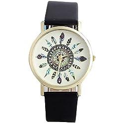 Sunnywill Neue Vintage Feder Zifferblatt Leder Band Quarz Analog einzigartige Armbanduhren für Frauen Mädchen Damen