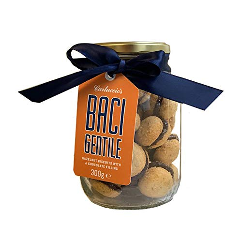 Carluccio's Baci di DAMA Gift Jar - Delicious Piemontese Biscuits with Hazelnuts, Almonds and Butter sandwiched Together with Dark Chocolate, Made in Italy, 300g