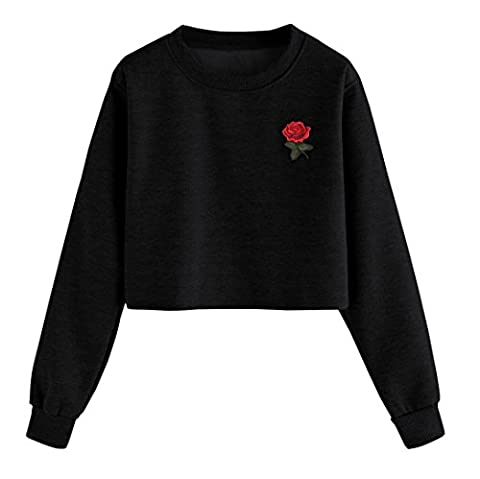 Pull Femmes Angelof Sweatshirt Mode Femme Coton MéLange Manches Longues Pull Rose Print O Cou Causal Tops Chemisier (M)