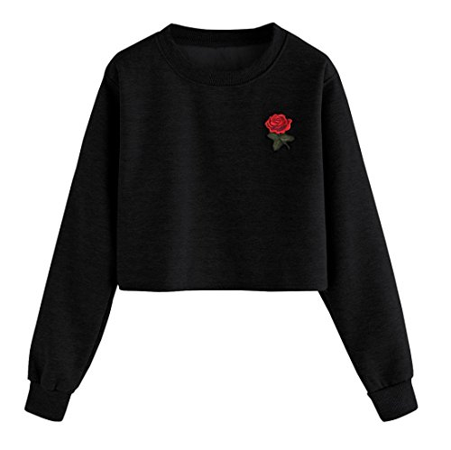 Pull Femmes Angelof Sweatshirt Mode Femme Coton MéLange Manches Longues Pull Rose Print O Cou Causal Tops Chemisier (S)