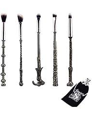 Kit de pinceaux de maquillage pour les yeux, ensemble de pinceaux de maquillage Harry Potter, baguette magique,pinceau pour fard à paupières pour fond de teint mélange de poudres pour le visage