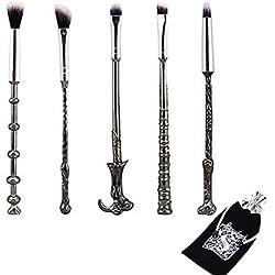 Wechip - Set di pennelli per il trucco a tema bacchette di Harry Potter, per i veri fan, pennelli per ombretto, fondotinta, fard, correttore, sopracciglia, cipria