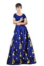 Florence Womens Velvet Blue Embroidery Lehengha Choli(MX011_Blue)