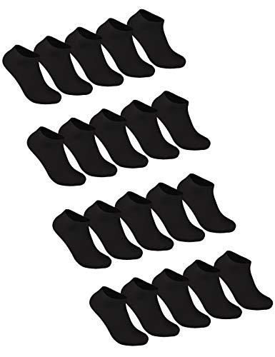 Sockenschuss 10 | 20 | 30 Paar Sneaker Socken Damen & Herren Schwarz & Weiß - Lange Haltbarkeit Dank Bester Qualität der Baumwolle (20x Schwarz, 35-38) -