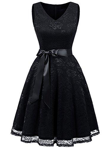 IVNIS RS90025 Damen Ärmellos Vintage Spitzen Abendkleider Cocktail Party Floral Kleid Black M (Beerdigung Kleidung)