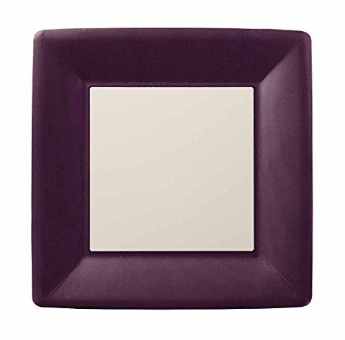 Ideal Home Serie 8Zählen quadratisch Pappteller, Papier, Classic Linen Aubergine, PAPER DINNER PLATE SQUARE