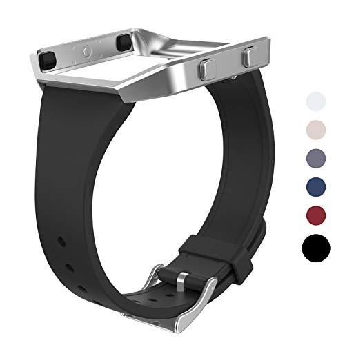 Wearlizer für Fitbit Blaze Armbänder, Silikon Slim TPU Ersatzband Zubehör Armband für Fitbit Blaze Sportuhr Damen Herren - Small/Large (Schwarz Neu)