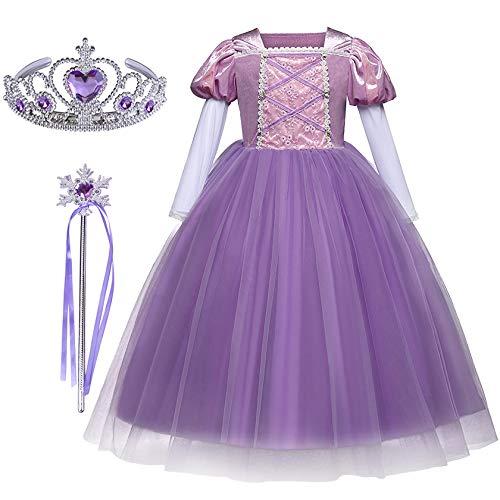 FStory&Winyee Mädchen Prinzessin Rapunzel Kleid Kostüm Set aus Diadem und Zauberstab Kinder Kostüm Cosplay Verkleidung Violett Lang für Karneval Weihnachten Hochzeit Geburtstag Geschenk Partei ()