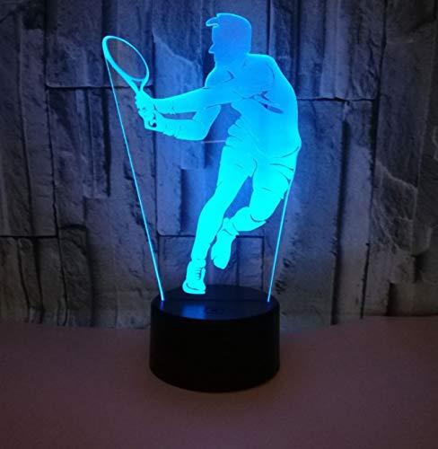 Lámpara LED 7 colores que cambian la lámpara de ilusión Luz nocturna 3D Luz visual Regalo para jugar al tenis Amantes del deporte Lámpara de lava 3D