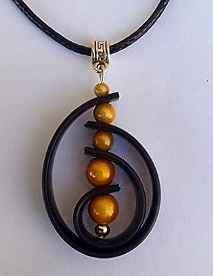Pendentif Buna perles jaunes