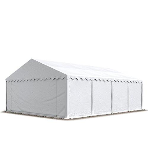 TOOLPORT Lagerzelt Unterstand 5 x 8 m in weiß Weidezelt 500g/m² PVC Plane nach DIN wasserdicht