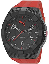 Puma Iconic Men's Quartz Watch with Black Dial Analogue Display and Red Plastic Strap