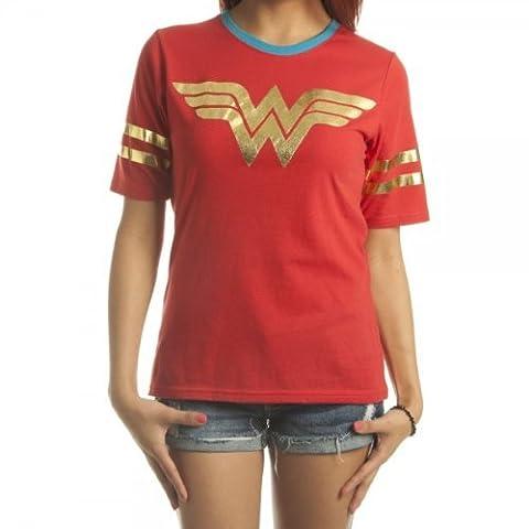 DC Comics Wonder Woman All Foil Logo Red Juniors T-Shirt   M