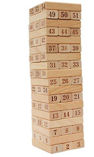Toys of Wood Oxford Juego de Torre de Madera Jenga - Números de la Torre de caída con 54 Bloques de Madera - Juego de Habilidad y Habilidad Mental para niños