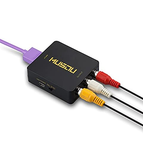 Musou HDMI vers RCA Composite AV CVBS Vidéo Audio Convertisseur Adaptateur Soutien HDTV, avec Câble HDMI Haute Vitesse et Câble RCA