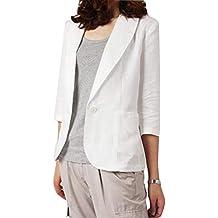 27059548670e Femme Coton et Lin Mélangé Blazer Veste de Tailleur Casual Slim Fit Manche  3 4