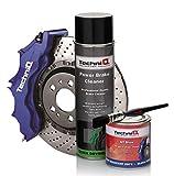 TechniQ GT Bremssattelfarbe, 250 ml, Blau (glänzend) + Bremsenreiniger & Lackierpinsel