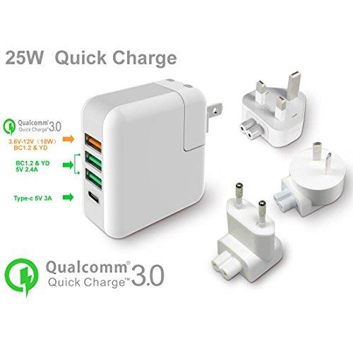 Fone-Stuff Reise-Ladegerät, 3 USB Port + Typ C (UK, US, EU, AU Adapter) für iPhone, Handys, Tablets mit Schnellladung 3.0 Tech - Weiß