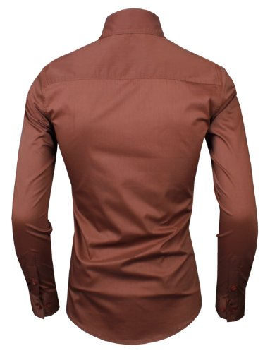 HRYfashion laesig chemise à manches longues de ski pour homme Marron - 313-Braun