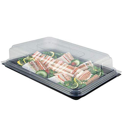 Servierplatte mit Deckel, Lebensmittel Transportbox aus Kunststoff, rechteckige Aufbewahrungsbox, idealer Transportbehälter für Catering, Sandwich und Party, 45 cm x 35 cm (10er Pack)