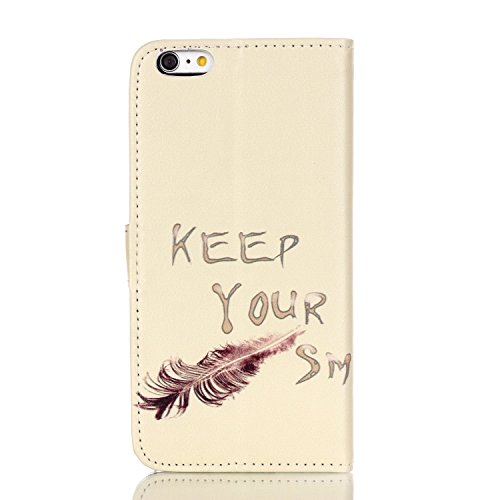 Feeltech IPhone 6 Plus/IPhone 6s PLUS 5.5 Inch Coque [Free Stylet] Book Fonction support Style Clip Portable de Protection Folio Couverture TPU Silicone Souple Fonction Anti-poussière Stand Magnétique Chat marrant