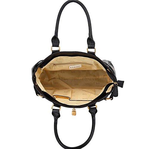 FASH Limited© Gold- Padlock Tote -Art- Satchel Schultertasche , eine Größe Schwarz