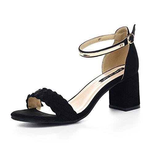 LGK&FA Estate Donna Sandali sandali grossolana parola fibbia stile punta con sandali All-Match 38 Rosa 37 black