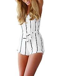 Sannysis falda bikini mujer monos de vestir cortos blanco rayado